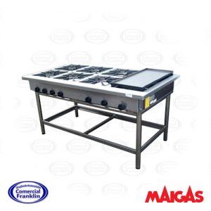 Anafe Industrial 6 Quemadores 35X35 Con Churrasquera